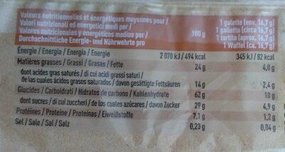 Galettes de riz nappées de chocolat au lait - Voedingswaarden - fr