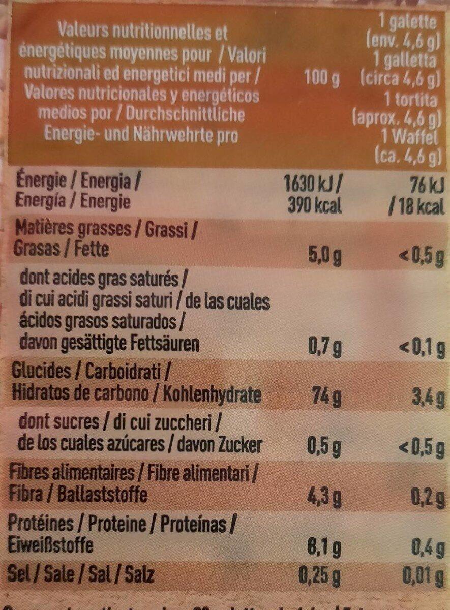 Galettes 4 céréales - Informations nutritionnelles - fr