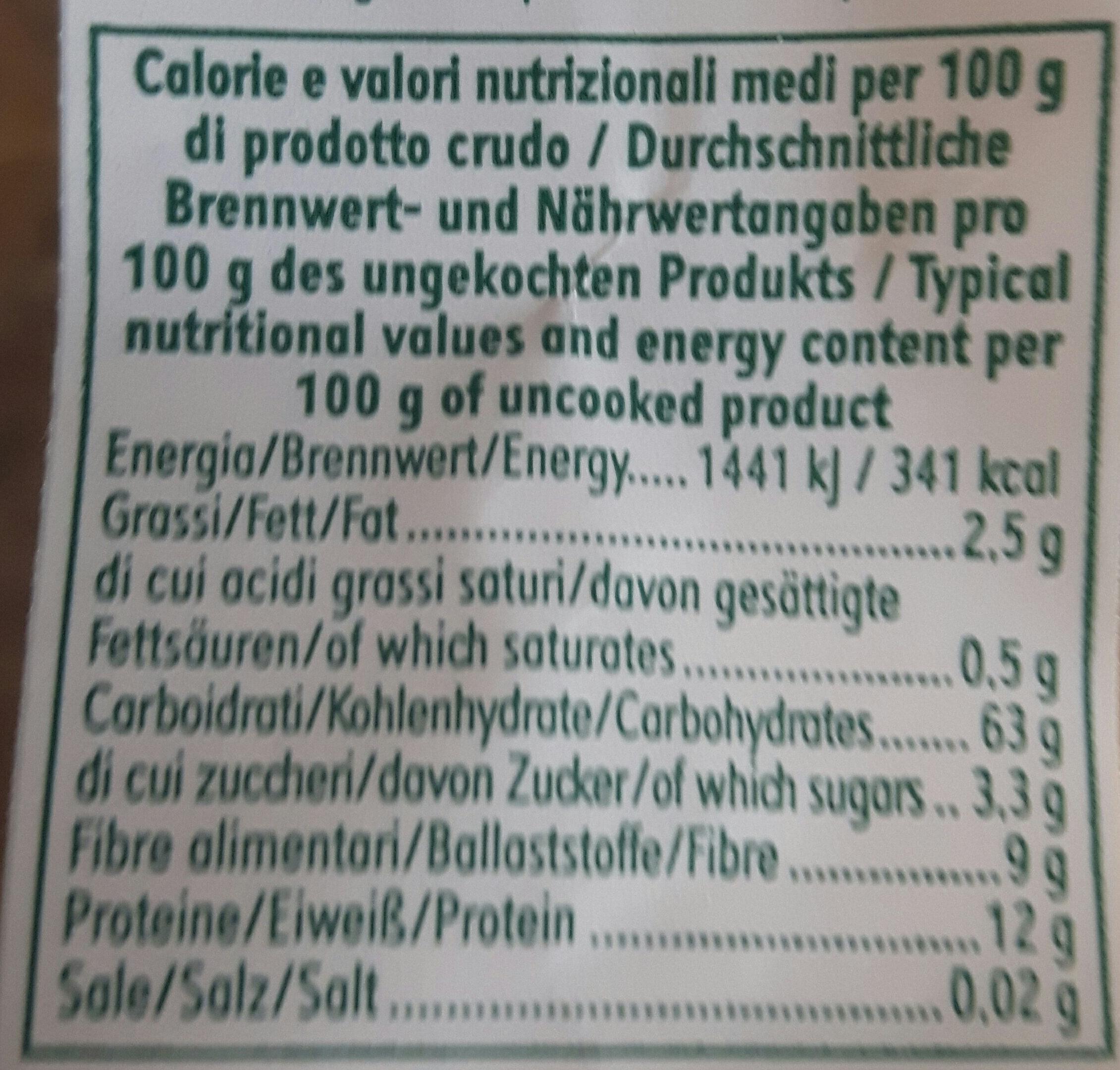Mélange Boulgour & Quinoa - Informations nutritionnelles - fr