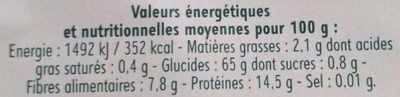 Céréales & lentilles - Voedingswaarden - fr