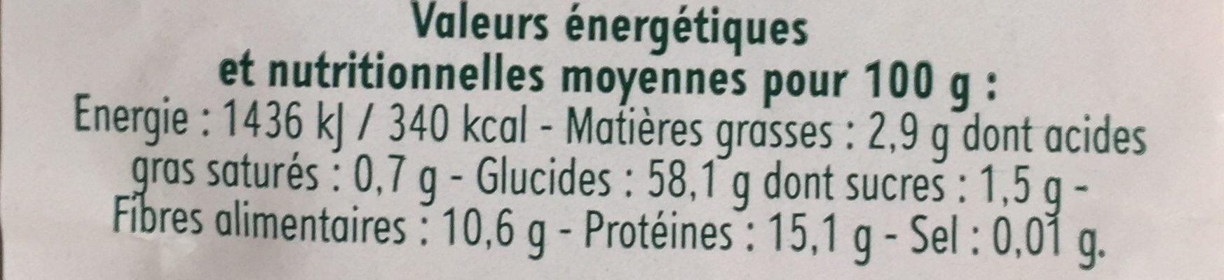 Riz, Pois & Lentilles - Voedingswaarden