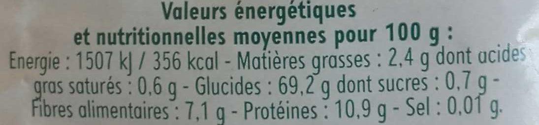 Mélange 5 Céréales - Informations nutritionnelles - fr