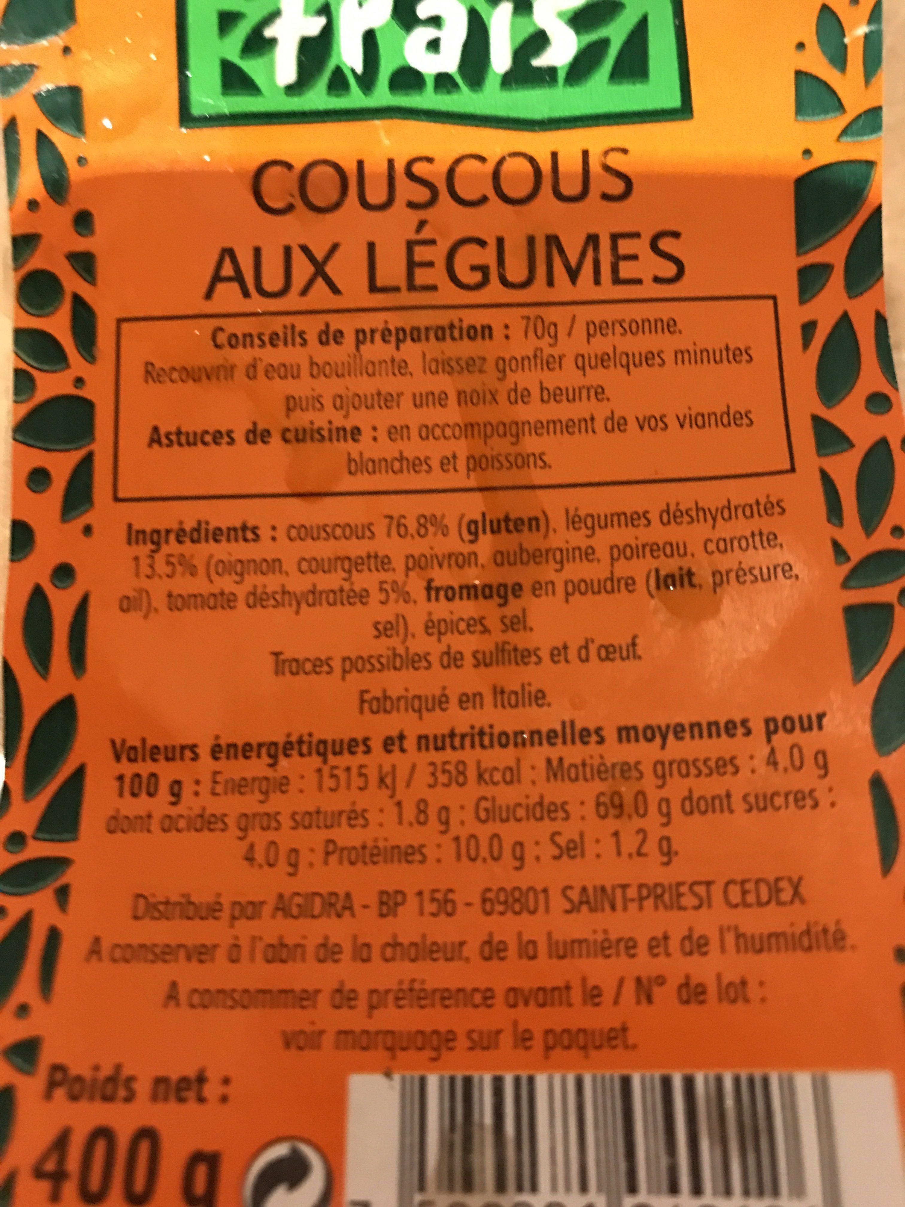 Couscous aux legumes - Ingrédients - fr