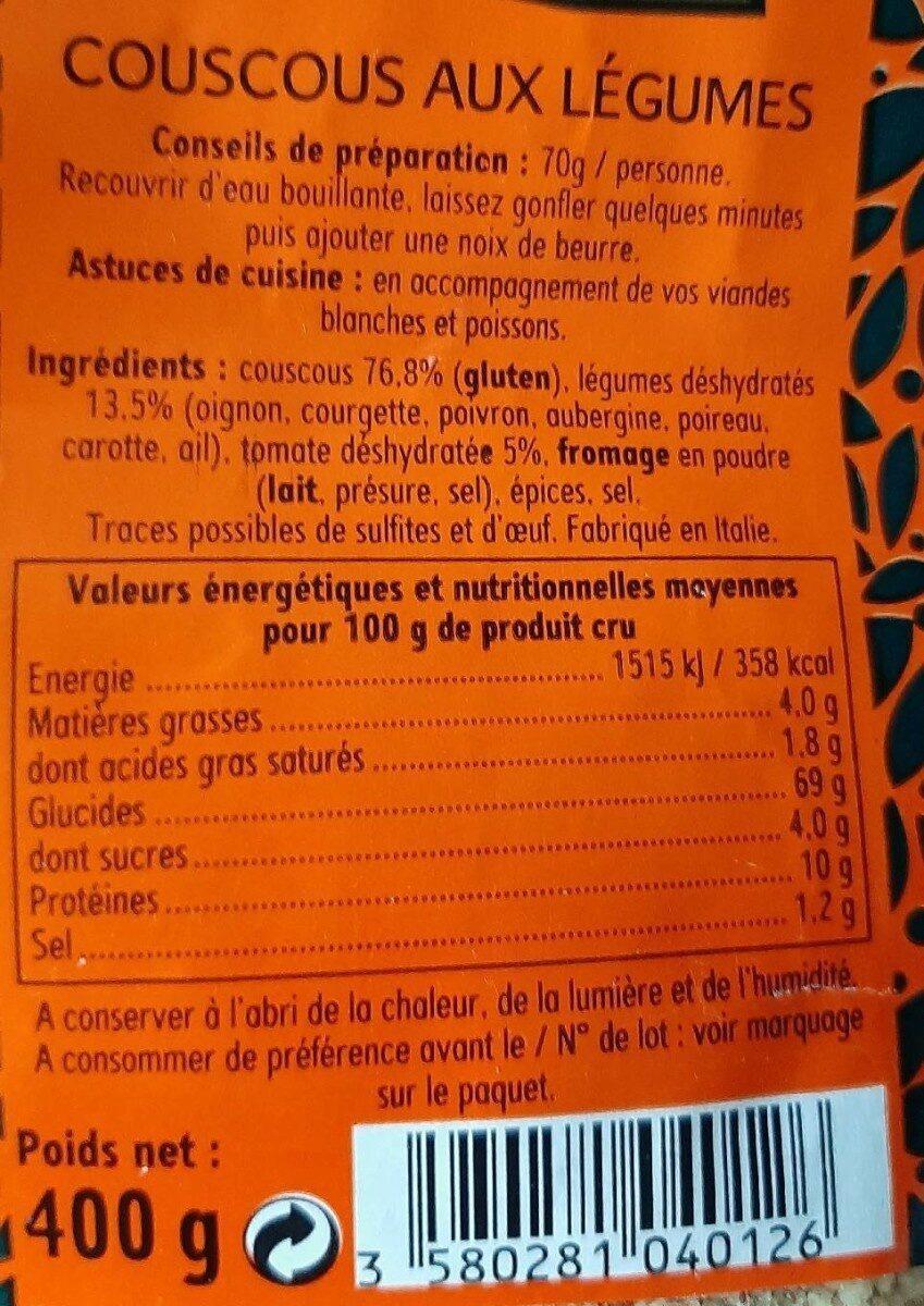 Couscous aux legumes - Informations nutritionnelles - fr