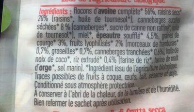 Müesli bio - Ingrédients - fr