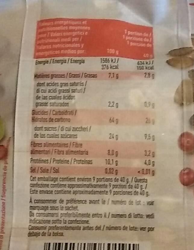 Müesli bio - Informations nutritionnelles - fr