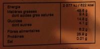 Arachides Brunes - Informations nutritionnelles - fr