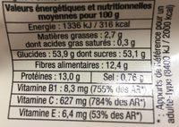 Baies De Goji séchées - Nutrition facts - fr