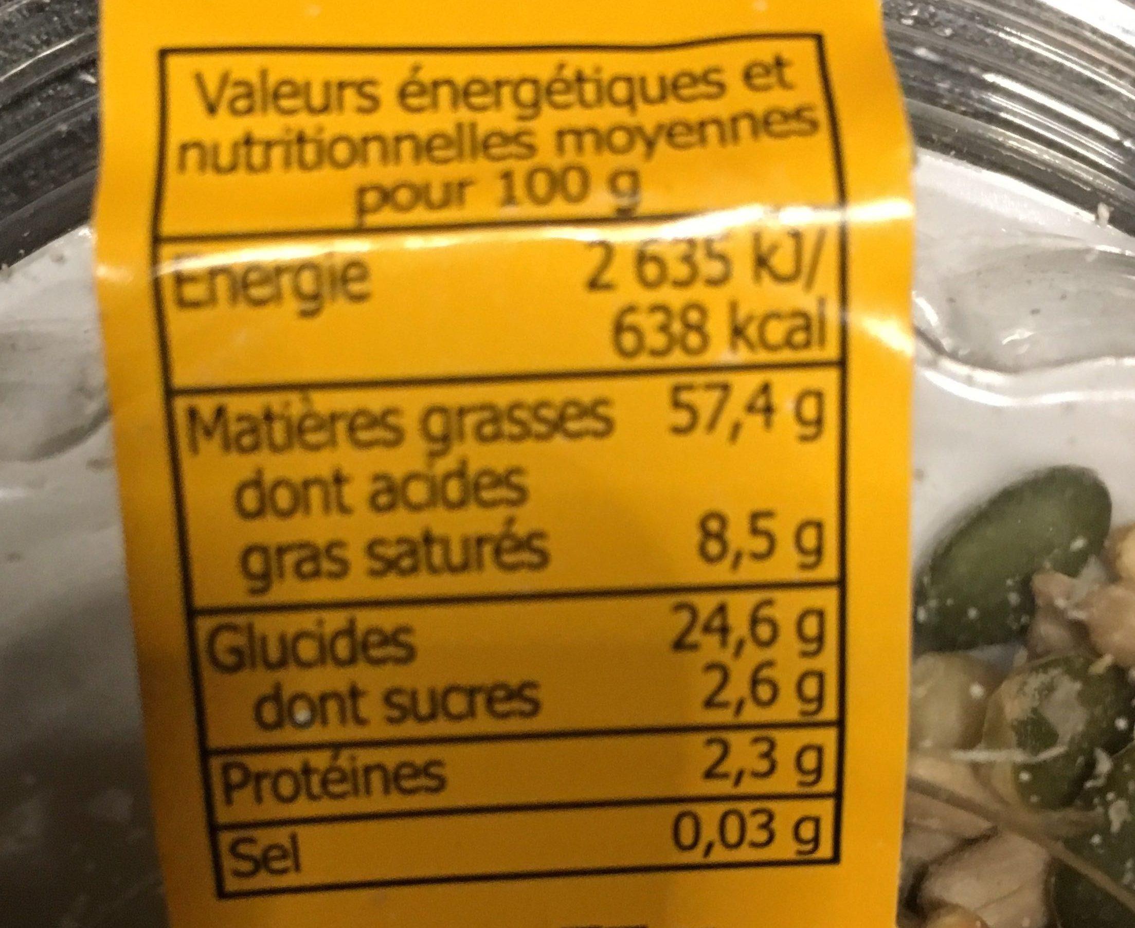 Mélange pour salade - Informations nutritionnelles