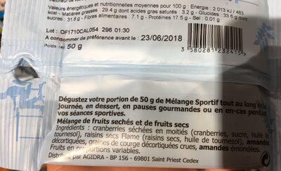 Melange sportif - Ingrédients - fr
