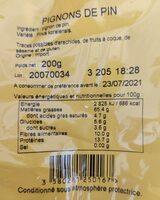 Pignon Chine Paquets - Informations nutritionnelles - fr