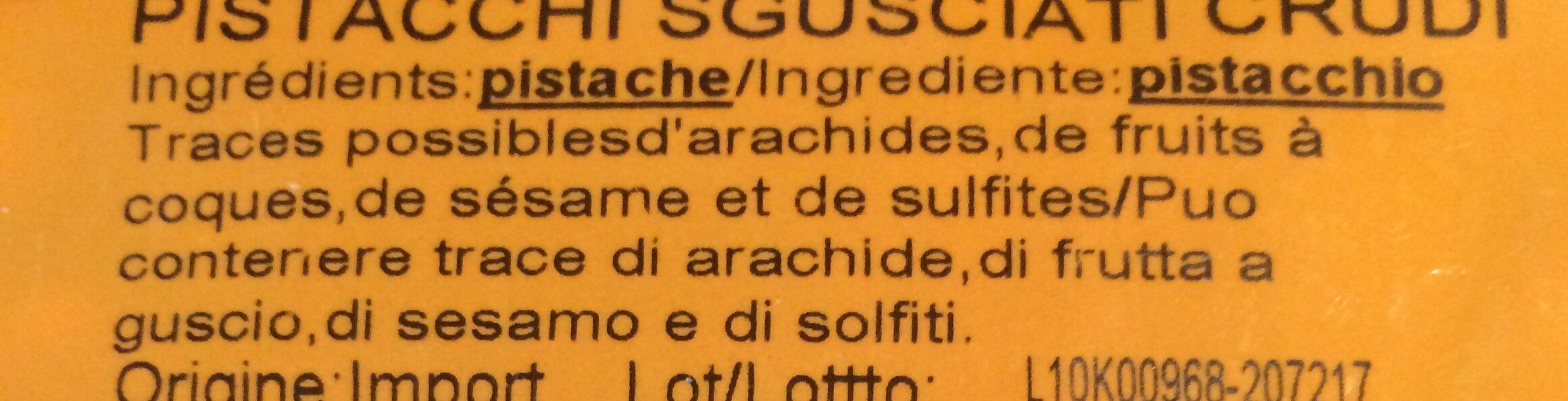 Pistache Décortiquée B &S Sachet - Ingredients