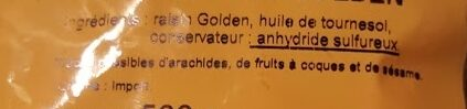 Raisin Golden Iran - Ingrediënten - fr
