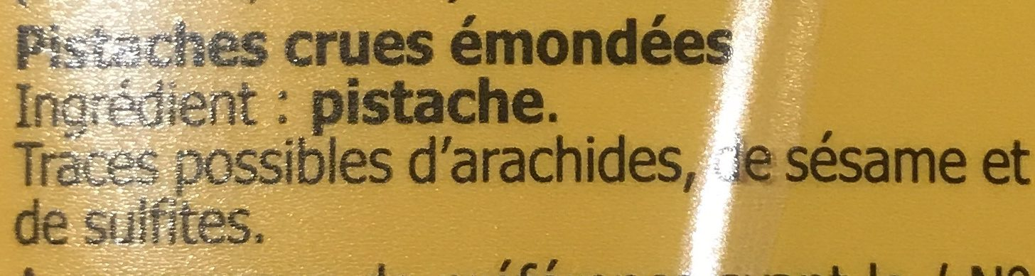 Pistaches émondées - Ingrédients - fr