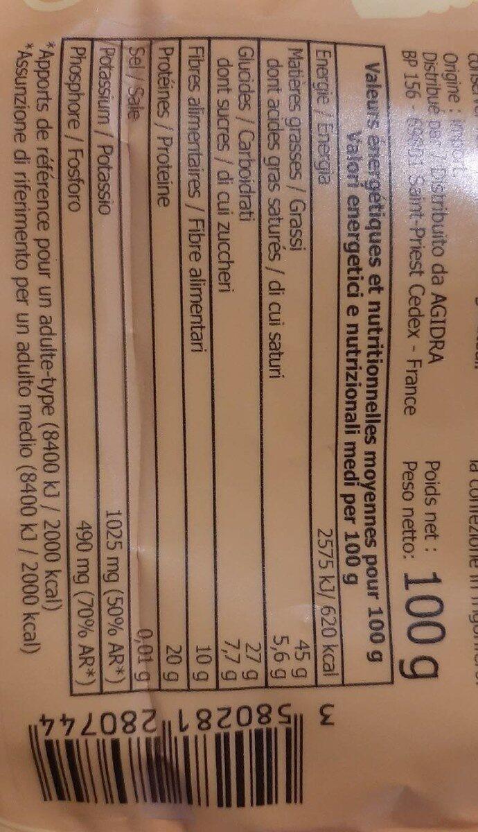 Pistaches émondées - Informations nutritionnelles - fr