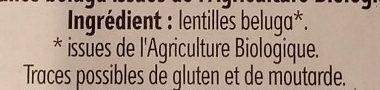 Lentilles Beluga - Ingrediënten