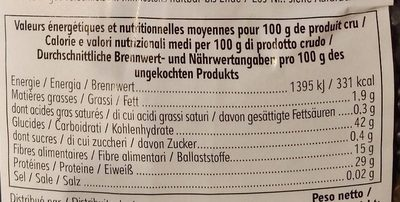Lentilles Beluga - Voedingswaarden