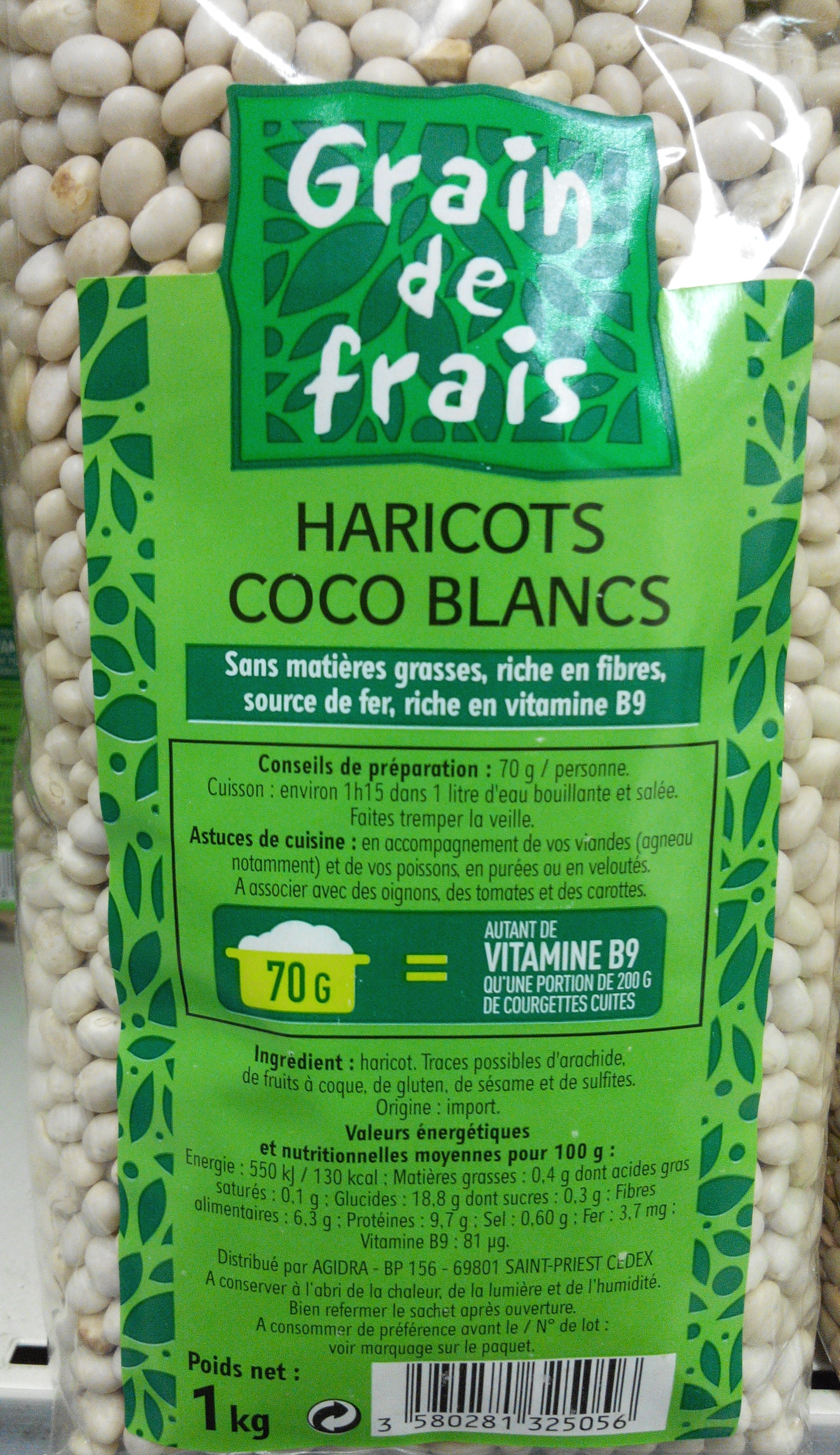 haricots coco blancs grain de frais 1 kg. Black Bedroom Furniture Sets. Home Design Ideas