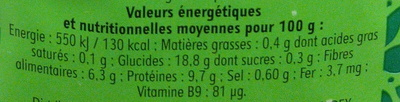 Haricots coco blancs - Informations nutritionnelles - fr