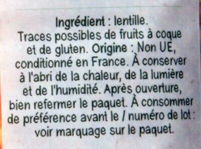 Lentilles corail - Ingrédients - fr