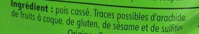 Pois cassés verts - Ingrédients