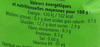 Pois cassés verts - Informations nutritionnelles - fr
