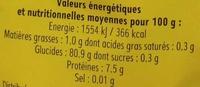 Riz étuvé - Información nutricional - fr