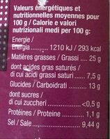 Olives noires à la grecques - Informations nutritionnelles - fr
