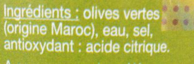 Olives vertes dénoyautées - Ingrédients