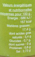Olives vertes dénoyautées - Informations nutritionnelles - fr