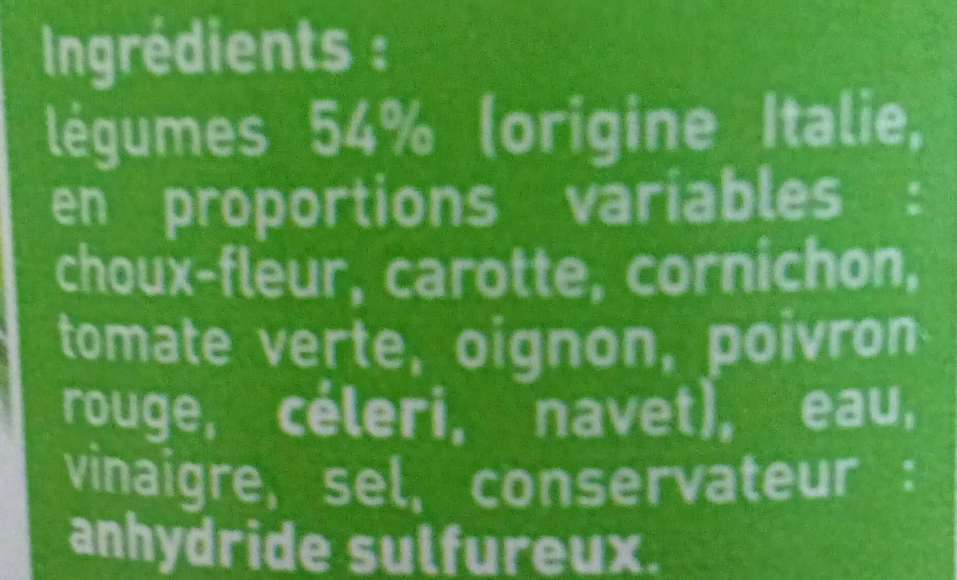 Variantes de légumes au vinaigre - Ingrediënten - fr