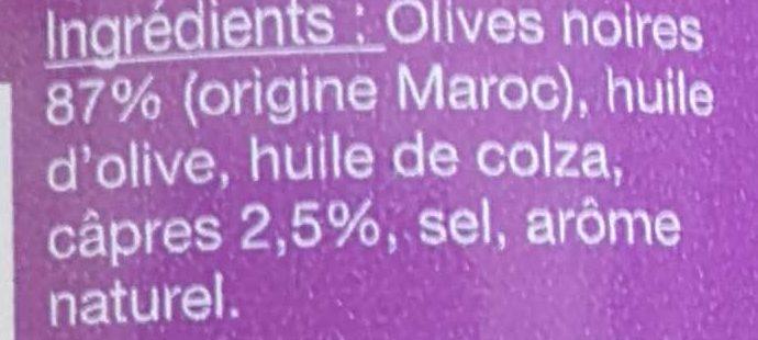Tapenadine noire - Ingrédients
