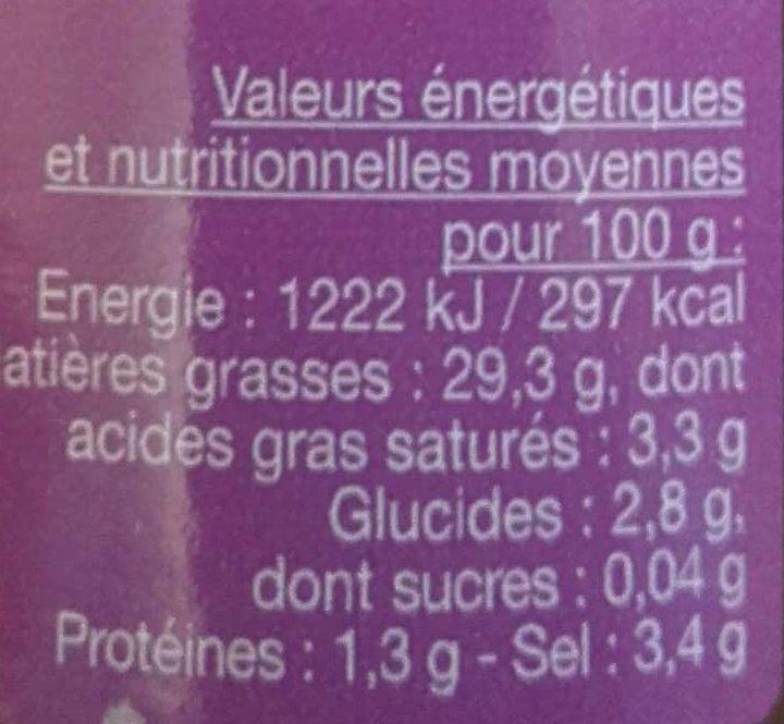 Tapenadine noire - Informations nutritionnelles