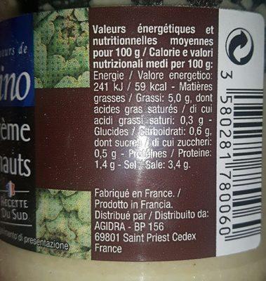 Creme D'artichauts - Informations nutritionnelles - fr