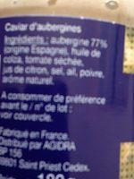 Caviar d'Aubergines - Informations nutritionnelles - fr
