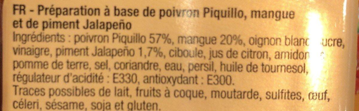Poivrons piquillo, mangue et piments jalapeños - Ingrédients - fr