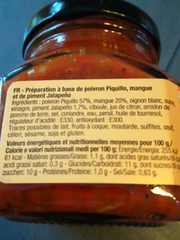 Poivrons piquillo, mangue et piments jalapeños - Informations nutritionnelles - fr