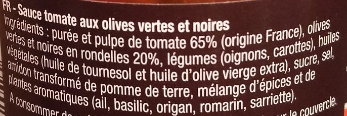 Sauce olives vertes & noires - Ingrédients - fr