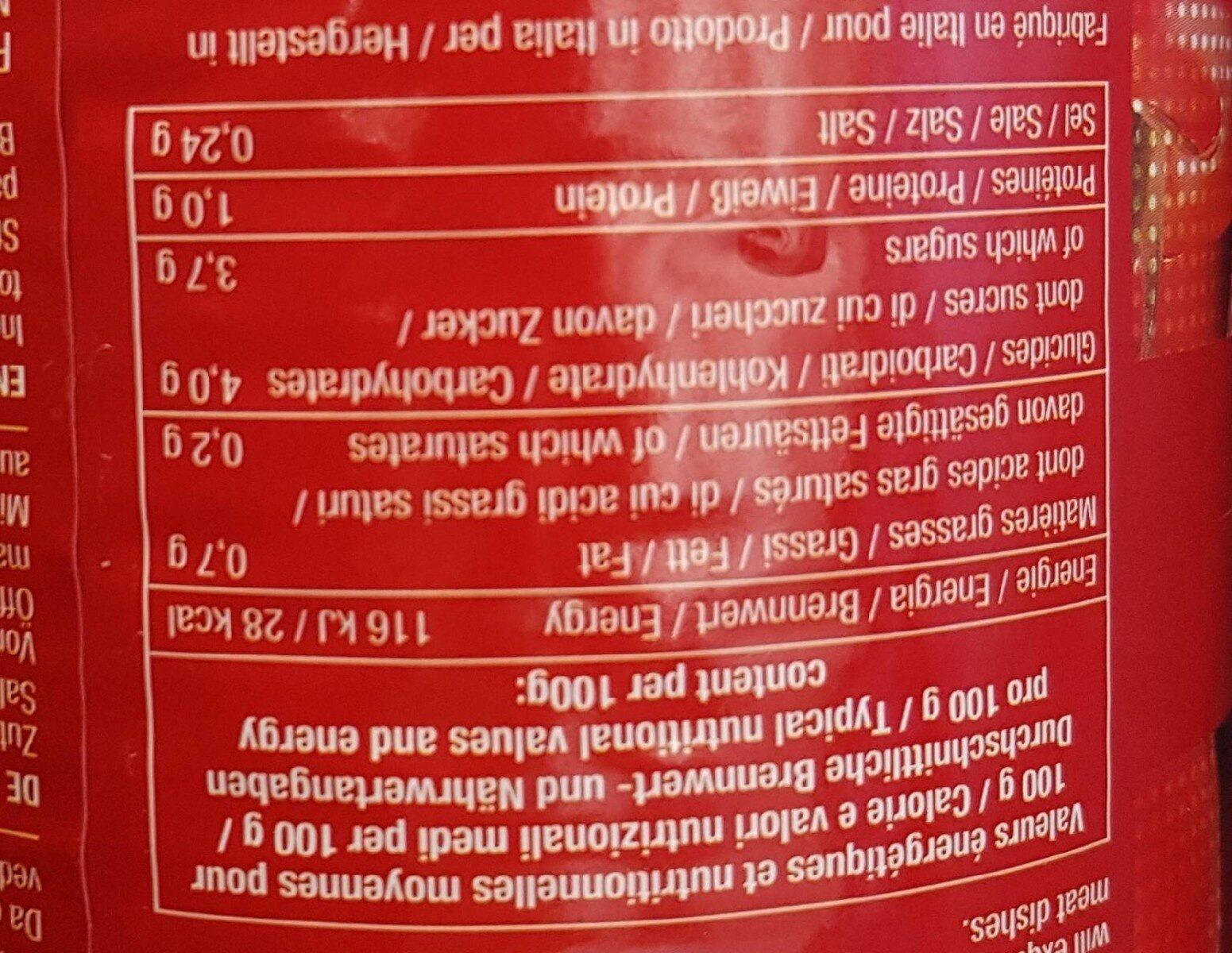 Tomates entières pelées - Informations nutritionnelles - fr