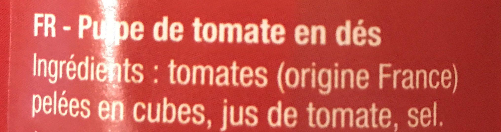 Pulpe de tomate en dés - Ingrédients - fr