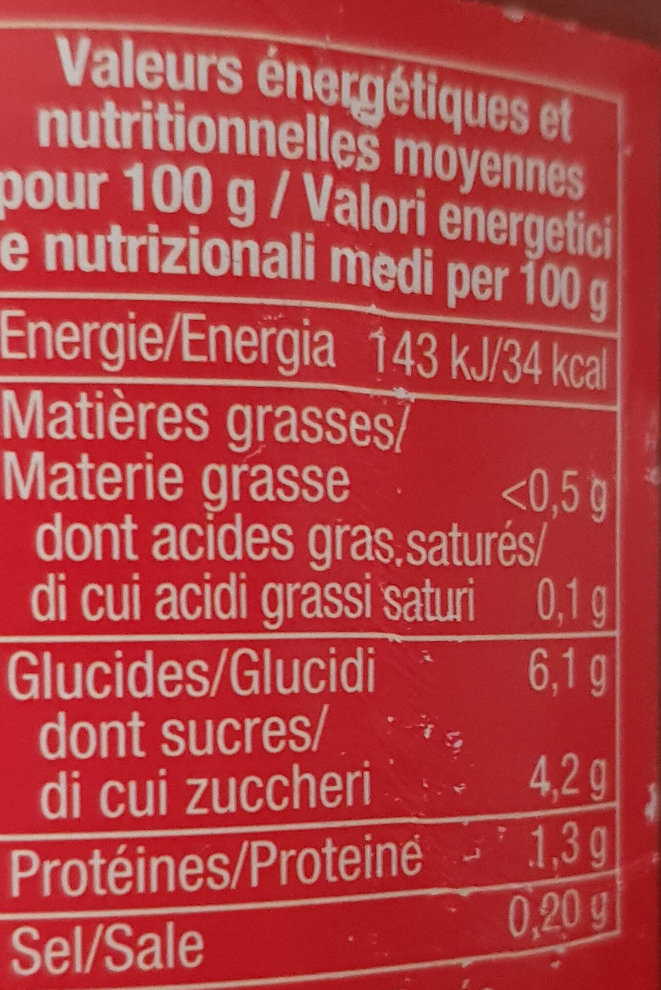 Purée de tomate fraîches - Informations nutritionnelles - fr