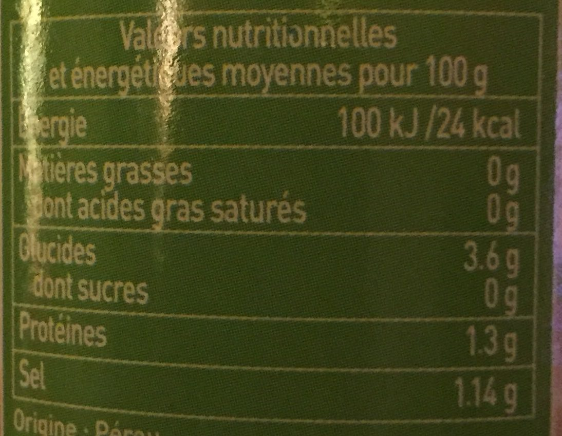 Asperges blanches miniatures - Nutrition facts
