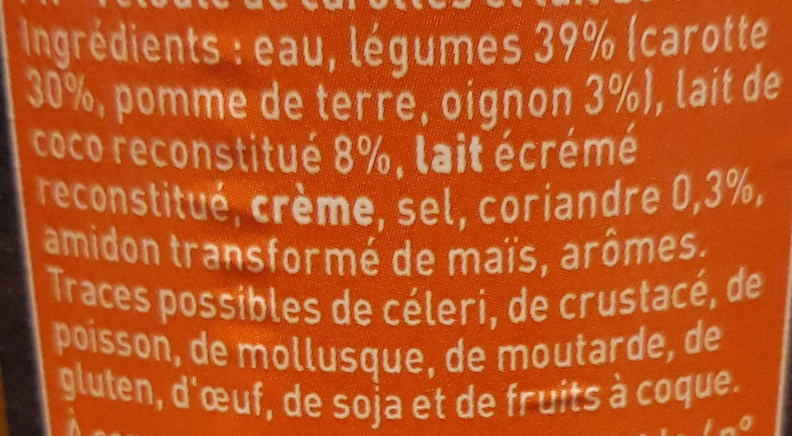 Soupe Carottes Façon Thaï - Ingrediënten - fr