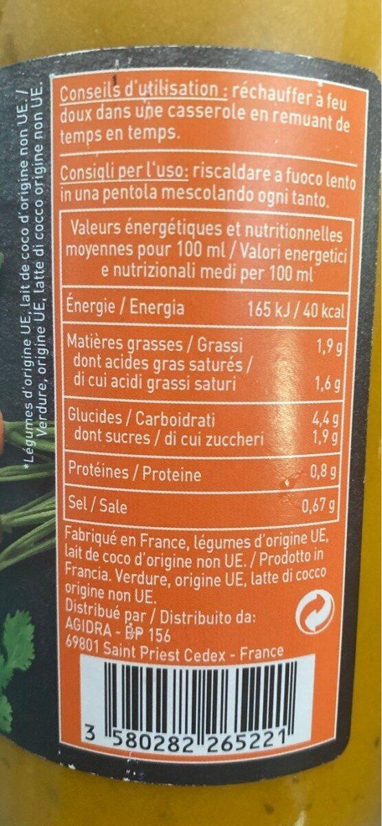 Soupe Carottes Façon Thaï - Voedingswaarden - fr