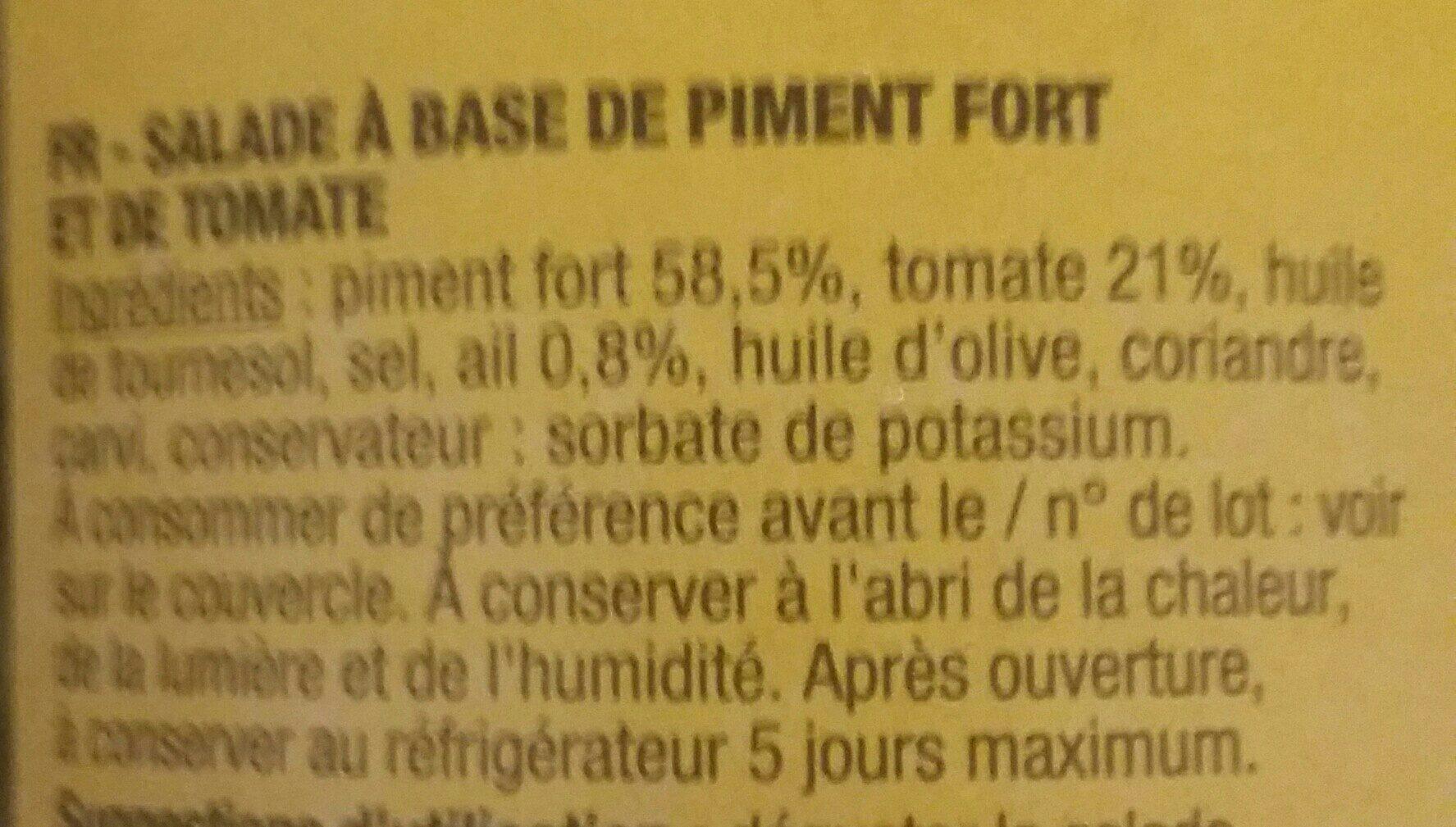 Salade Méchouia piquante - Ingrédients