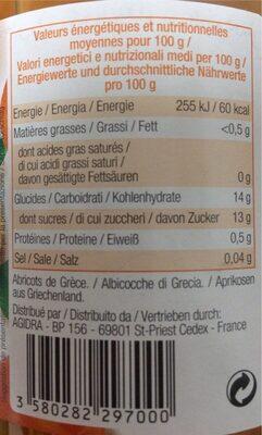Abricots au sirop léger - Informations nutritionnelles - fr