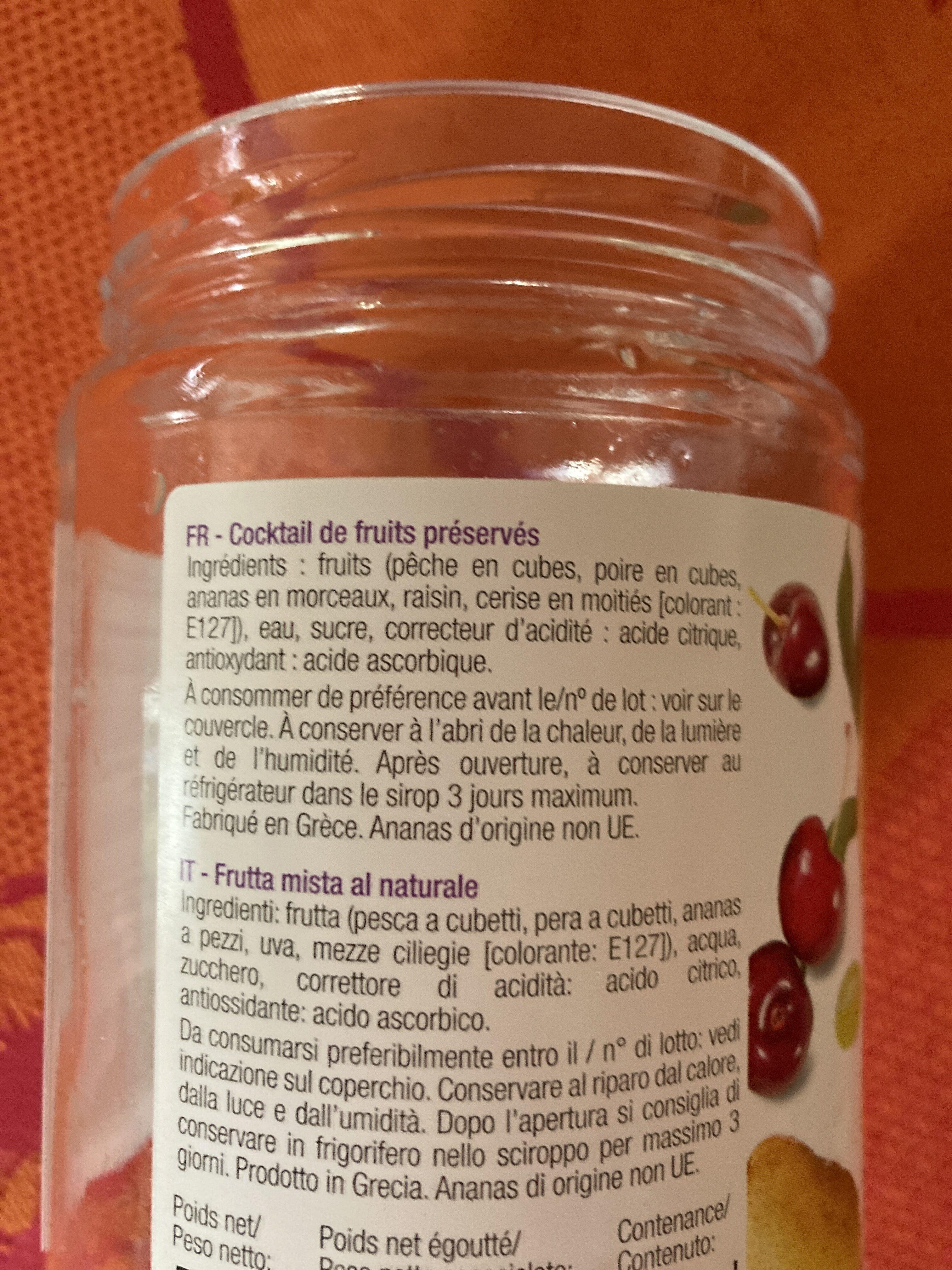 Cocktail de fruits au sirop léger - Ingrédients - fr