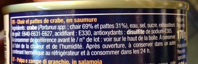 Chair et pattes - Crabe - Ingrédients