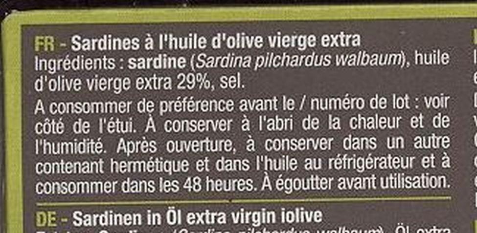 Sardines à l'huile d'olive - Ingredients