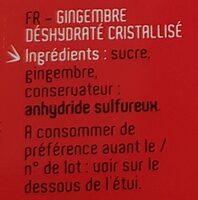 Gingembre Deshydraté Chao'an - Ingrédients - fr